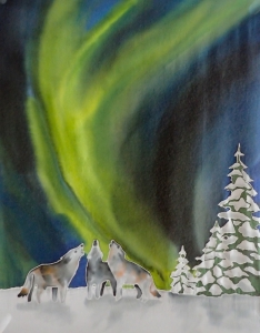 Wolves and Northern Lights